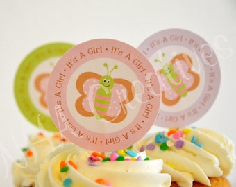 Butterfly Baby Shower Cupcake Toppers - It's A Girl - DIY Printable Digital File