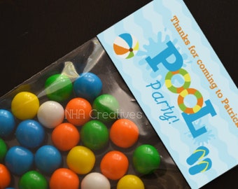 Personalized Pool Party Treat Bag Topper - DIY Printable Digital File