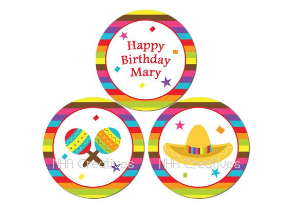 Personalized Fiesta Birthday Cupcake Toppers - Personalized DIY Printable Digital File