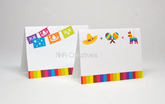 Fiesta Place Cards - Papel Picado, Sombrero, Maracas, Pinata - DIY Printable Digital File