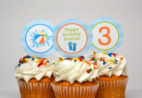 Personalized Pool Party Birthday Cupcake Toppers / Party Circles - Personalized DIY Printable Digital File