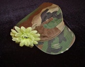 CAMO CADET HAT with peace sign accents & lime green flower