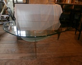 Mid Century Modern Glass and Aluminum Coffee Table