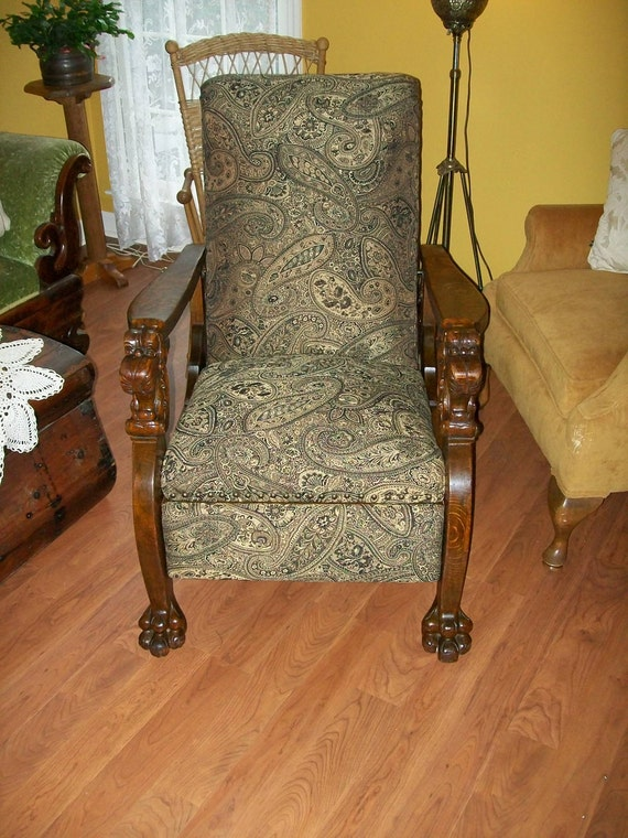 Streit Oak Morris Chair Carved Lion S Heads Carved By