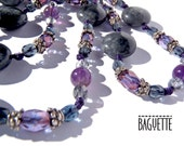 Baguette-B025- Grey Marble, Amethyst, Purple and Dark Grey Czech Glass Beads- Purple Cord