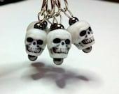 Stitch Markers: Skulls and Dark Metal, Set of 5