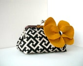 Black, White, Mustard Yellow Geometric Print Clutch - Small/Medium