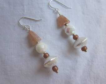 Strawberry quartz and silver earrings with vintage crystals