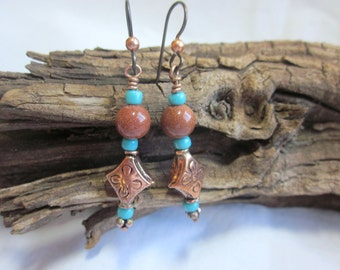 Goldstone earrings with turquoise and copper