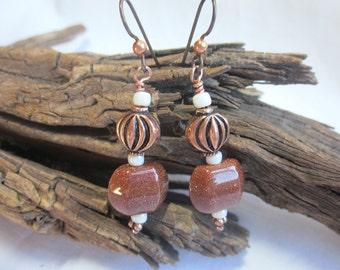 Goldstone earrings with copper