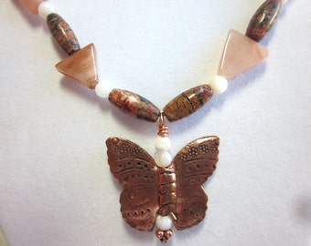 Leopard jasper necklace, Copper butterfly, strawberry quartz and mother of pearl
