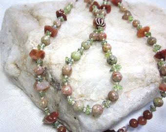 Fire agate necklace with peridot and autumn jasper