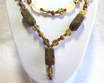 Chrysanthemum stone necklace, Italian onyx, jasper and gold