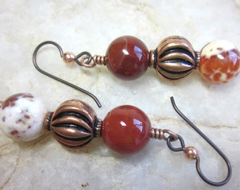 Carnelain and copper earrings with niobium wires