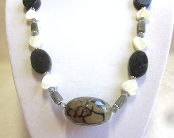 Labradorite necklace, dragon vein agate focal bead, hearts in mother of pearl