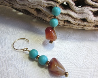 Carnelian and turquoise earrings, 14 karat gold filled wires