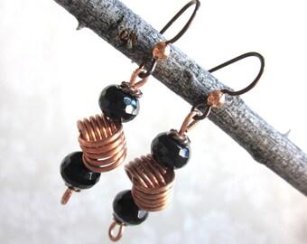 Black onyx earrings, copper love knots