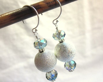 Silver and aqua crystal earrings