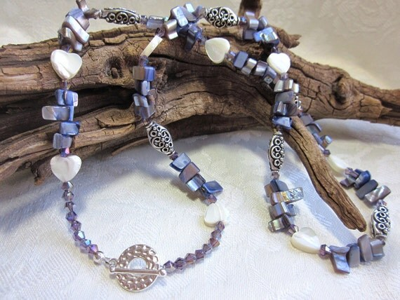 Pearl heart necklace with periwinkle shells, crystals and silver