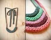 dark green woven fabric necklace