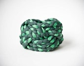 DARK green & MINT green vintage, woven fabric bracelet