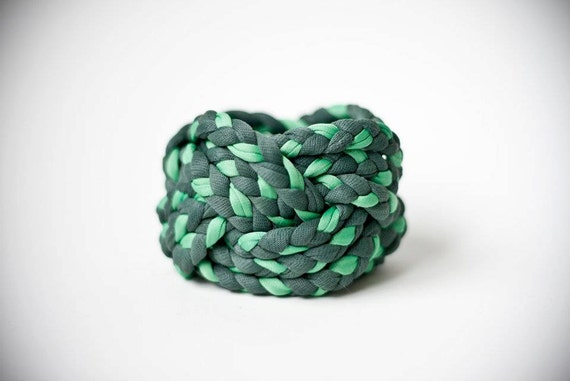 DARK green & MINT green vintage, woven fabric bracelet