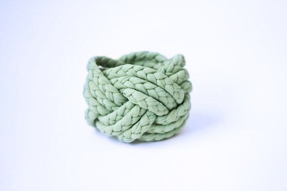 MINT GREEN, turk head knot, vintage, woven fabric bracelet (only ONE left)