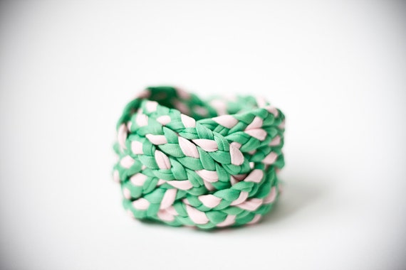 OOAK pale GREEN & pale PINK vintage woven fabric, turk head knot bracelet / only 1 available