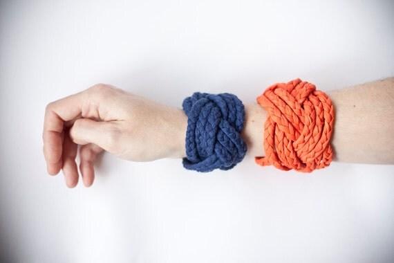 dark BLUE woven fabric, turk head knot bracelet