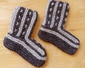 Children Knitted Socks / Slippers in Ecru and Brown - Hand Knitted Children Winter Home Socks / Slippers