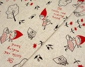 6331 - Cotton Linen Fabric with Little Red Riding Hood,Trees and Birds - by the yard