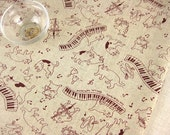 6316A - Cotton Linen Blend Fabric - Cat love music (purple) - by the yard