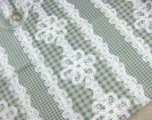 6017A - 1 yard  Cotton Linen Fabric - Checker And Lace (blue)