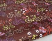 """3041B  - 1 yard Vinyl Waterproof Fabric -Bicycle (Brown)  - 57""""x36"""""""