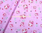"2703 - 1 meter cotton fabric - Cartton -  rabit heart dot - pink - 63""x39"""