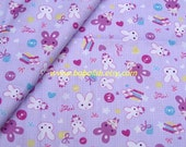 "2704 - 1 meter cotton fabric - Cartton - Rabbit and dots (purple) - 63""x39"""