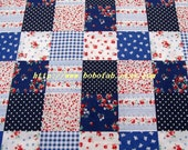 2003B - 1 meter cotton fabric  - Patch - rose / dot / strip - blue