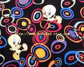 2007 - 1 meter Cotton fabric  - Patch - Lovely duck and circle on black