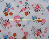 2008 - 1 meter Cotton fabric  - Cartoon - Pig/Heart/Snowman on white