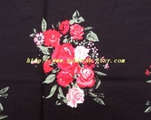 2010  - 1 meter Cotton fabric  - Peony on black