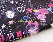 "3146C  - 1 yard Vinyl Waterproof Fabric  - Rose heart dot and girl face (black) - 57""x36"""