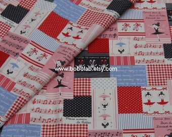 6009A - 1 yard Cotton Linen Fabric - Ballet Girl on white background - Red and Pink