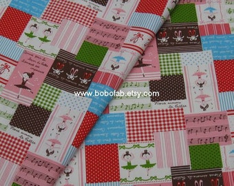 6009B -1 yard Cotton Linen Fabric - Ballet Girl on white background - Green and Pink
