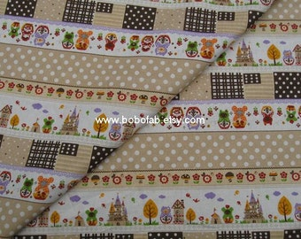 6010C -1 yard Cotton Linen Fabric - Matryoshka Doll - Stripe(Coffee