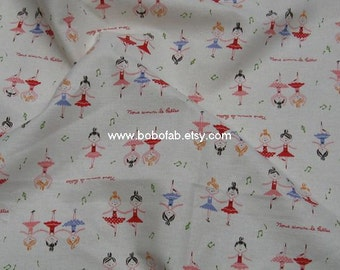 6012B -1 yard Cotton Linen Fabric - Ballet Girl on white - Purple