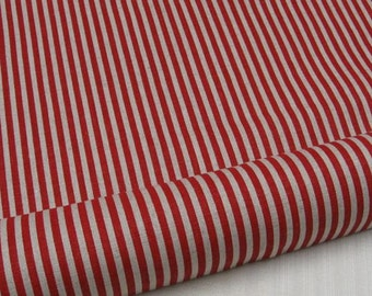 6313C - Cotton Linen Blend Fabric -Stripe (red) - by the yard