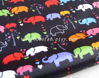 "3095C  - 1 yard Vinyl Waterproof Fabric - Elephant (black)  - 57""x36"""
