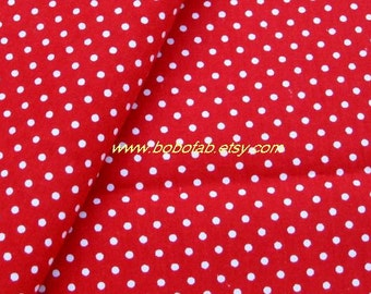 2001A - 1 meter cotton fabric  - Dots on red