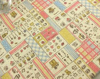 6027A - 1 meter Cotton Linen Fabric - Cute Life Zakka ( pink)