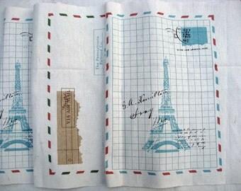 6902A - Cotton Linen Fabric - Tower and envelopes (blue)  - 110cmx37cm